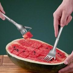 (2ea) 한번에 쏙 수박 전용 포크 커팅기 과일 슬라이서