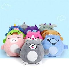 2in1 어린이 아동 후드티 잠옷 캐릭터 변신 쿠션 인형 H
