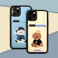 1+1 아이폰 11 미니멀프렌즈 커플 카드수납 카드 범퍼 자수 케이스