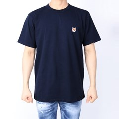 21FW 메종키츠네 폭스헤드 패치 티셔츠 (남성/네이비) AM00103KJ0008