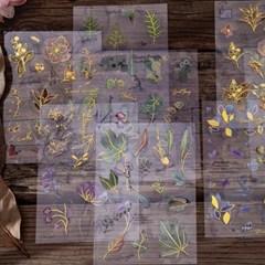 금박 꽃 플라워 압화 PET 다꾸 스티커 다이어리꾸미기