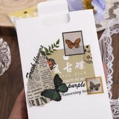 꽃 나비 압화 PET 다꾸 칼선 스티커