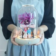 LED 감성 원목 유리돔 7종 프리저브드 꽃 부케 결혼 여자 친구 생일