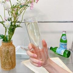 홈파티 더블월 슬림 샴페인잔 내열 이중유리 글라스