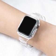 [필름증정!!] 애플워치 슬림 투명 스트랩 시계줄 밴드 케이스
