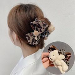 쿤마 곰돌이 호피무늬 리본 헤어 집게핀