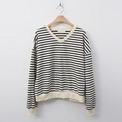 Stripe V-Neck Sweatshirt