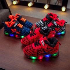 아동 키즈 겨울 털안감 스파이더맨 LED 운동화 신발 H
