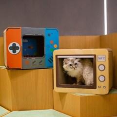 레트로 라디오 모형 고양이 스크래쳐 숨숨집 하우스