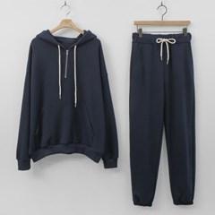 [Set] Hooded Pocket Sweatshirt + Straight Pants