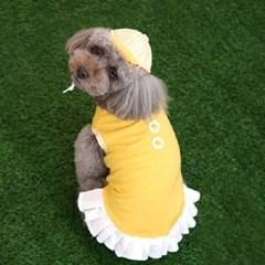 강아지 병아리 원피스 정장 옐로우 모자포함