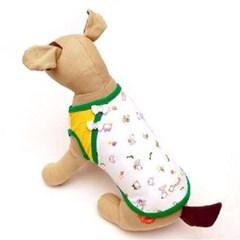 강아지 나시 크롭 봄옷 실내복 사선 베넷 티셔츠