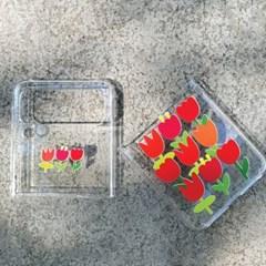 튤립 갤럭시Z플립3 투명하드 휴대폰케이스