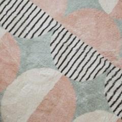 르메니 12mm 핑크 원형 패턴 홈스타일링 거실 러그 - 3size