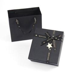 블랙레더 리본 선물상자 쇼핑백 기념일 선물포장박스