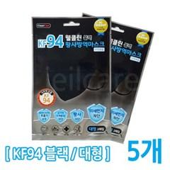 웰클린 황사마스크 KF94 블랙 대형 5매