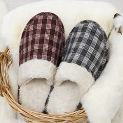 뮤직 체크 겨울 털 실내화 거실 방한 따뜻한 슬리퍼