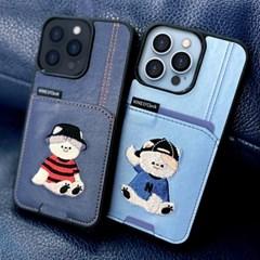 아이폰 13 시리즈 미니멀 프렌즈 커플 카드수납 범퍼 자수 케이스