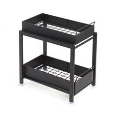 공간활용 슬라이딩 양념통선반(블랙) 레일정리대 조미료수납선반