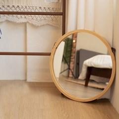 원목 무드 원형 벽걸이 거울 t