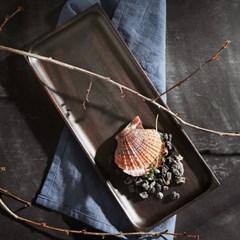 벨류세라믹 첼리나 흑단 원목 직사각접시 35cm
