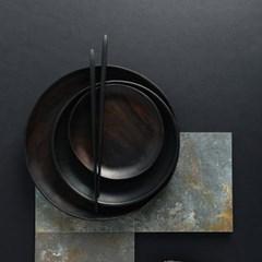 벨류세라믹 첼리나 흑단 원목 원형접시 25cm