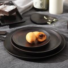 벨류세라믹 첼리나 흑단 원목 원형접시 15cm