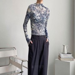 여자 물감 나염 시스루 쫄티 긴팔 티셔츠