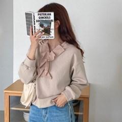 여자 러플 톤온톤 긴팔 바스락 무지 티셔츠