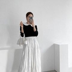 여자 라운드 빅카라 배색 슬림 면티 긴팔 티셔츠