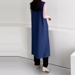 Pleats V-Neck Long Vest N Dress