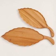마호가니 나무 손잡이 플레이팅 도마 나뭇잎접시