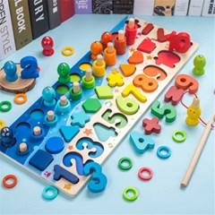 유아 원목 숫자 퍼즐 모양 맞추기 끼우기 장난감 놀이 H