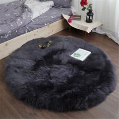 천연 양모 원형 바닥 러그 양털 카페트 H