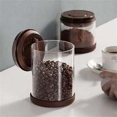 원터치 밀폐 커피 원두 보관함 내열 유리 보관통 H