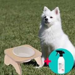강아지 심플 원목식탁 도자기 밥그릇 세트 1구+탈취제