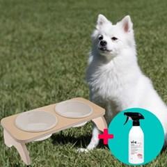 강아지 심플 원목식탁 도자기 밥그릇 세트 2구+탈취제