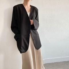 여자 가을오버핏 노카라 단추 핀턱 포켓 레이온 박시 자켓