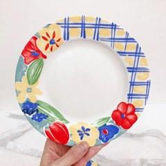 빈티지 레트로 꽃무늬 디저트 플레이트 감성 홈카페 A