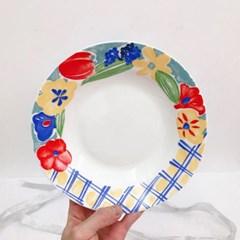 빈티지 레트로 꽃무늬 디저트 플레이트 감성 홈카페 B
