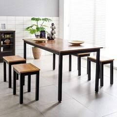 T7 로디 1500 철제 4인식탁세트 철제식탁 식탁테이블