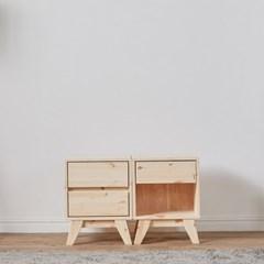 원목 래드파인 침대 소파 사이드 다용도 협탁 오픈형 서랍형 다리형