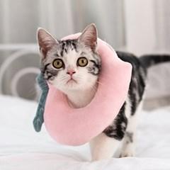 고양이 강아지 쿠션 넥카라 그루밍 방지 5종 복숭아