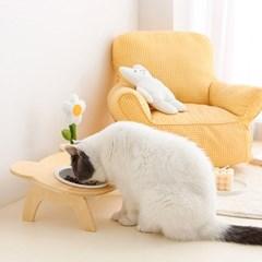 반려동물 강아지 고양이 세라믹 밥그릇 꽃인형 세트