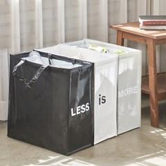 [리본제이]양면 디자인 가정용 재활용 3단 분리수거함 M