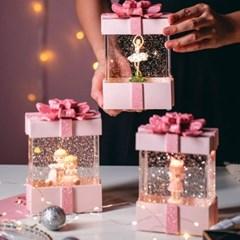 핑크 선물상자 글리터 워터볼 오르골 무드등
