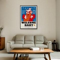 웰컴 베이비 M 유니크 인테리어 디자인 포스터 출산 가족
