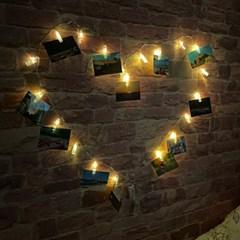 벽장식 사진걸이 LED폴라로이드꾸미기 사진집게 포토보드 무드등