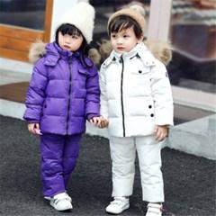 유아 아동 오리털 패딩 파카 구스다운 바지 상하의SET H