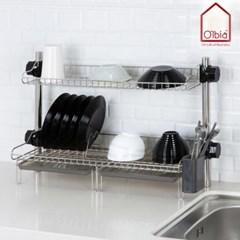 2단 그릇정리대 식기건조대 접시 싱크대선반 설거지 컵보관함